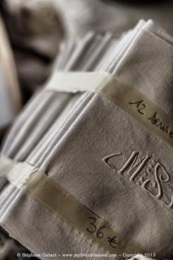 Monogram on vintage napkins