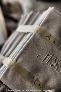 Monogram on vintage napkins