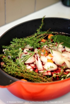 Coq au vin in its marinade