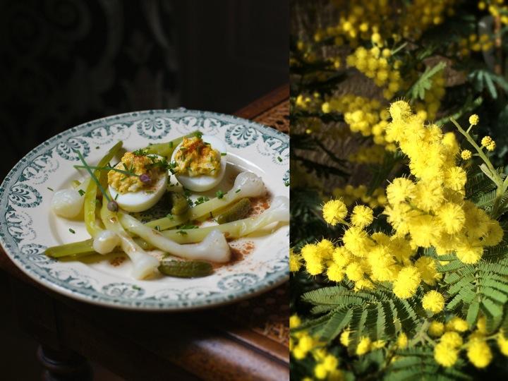 Wild leeks salad - Eggs mimosa