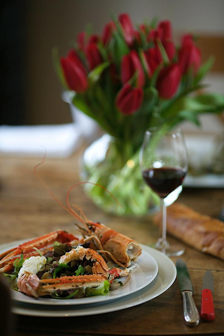 Warm langoustine salad