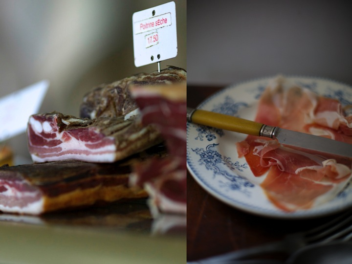 Cured ham and bacon