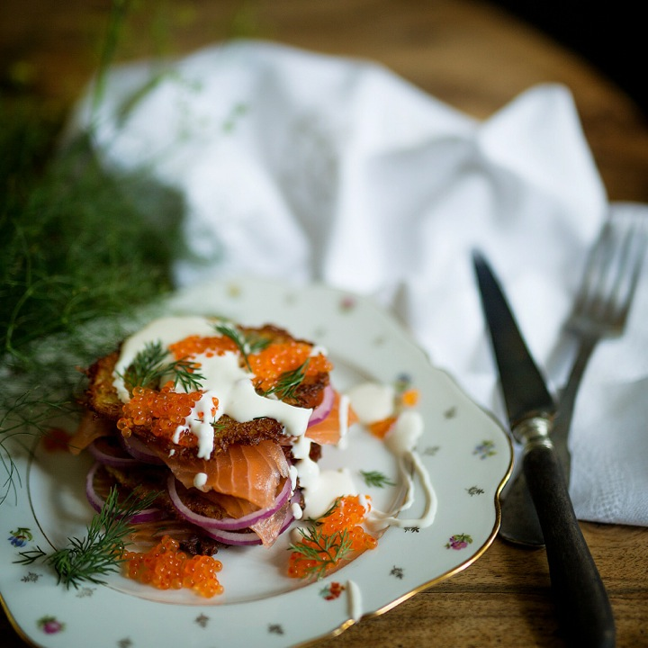 Salmon and hash brown sandwich